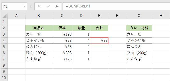 関数の計算結果