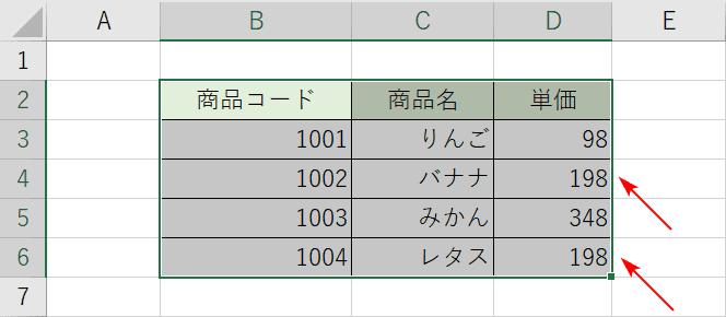 置換する表の準備