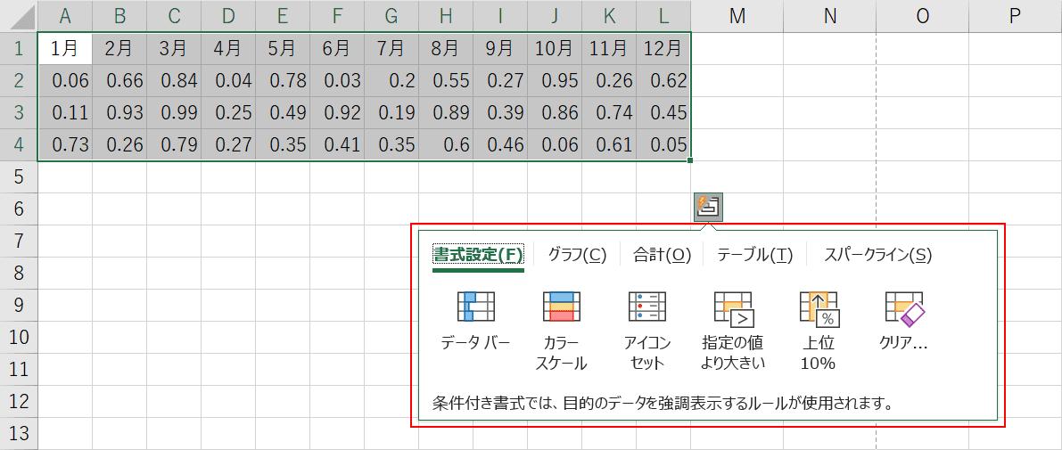 クイック分析オプションを表示する