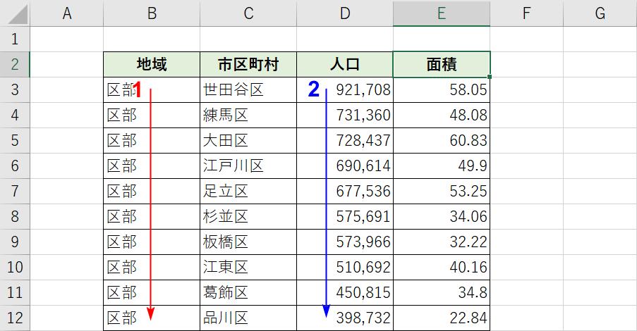 複数列の並び替え結果