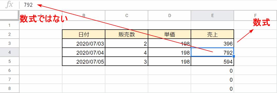 ARRAYFORMULA関数の結果