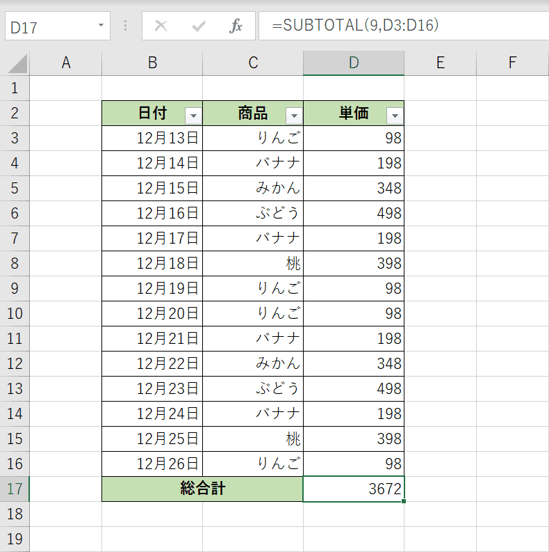 SUBTOTAL関数の結果