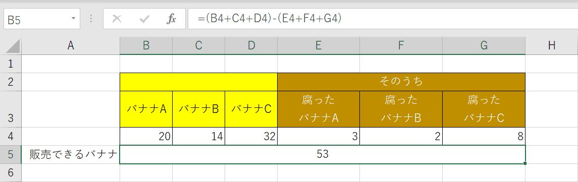 足し算と引き算の混合計算の結果