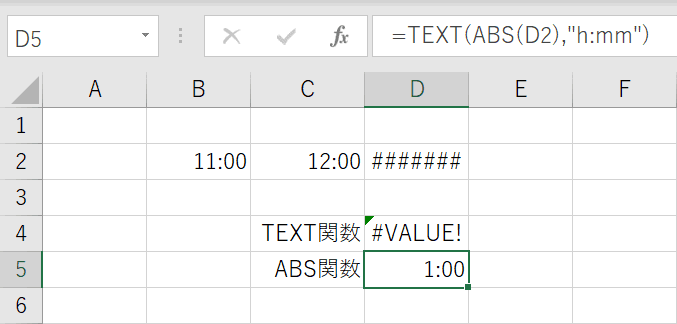 ABS関数の結果