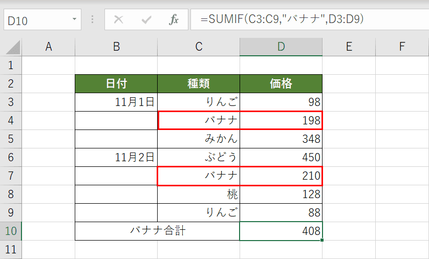 SUMIF関数の結果