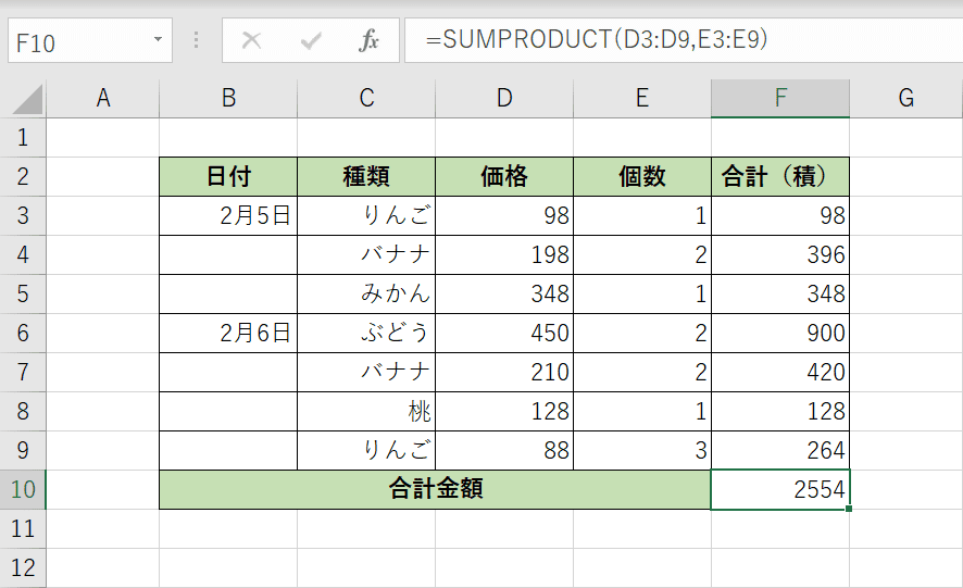 SUMPRODUCT関数の計算結果