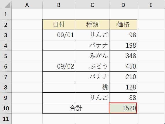 SUM関数の計算結果