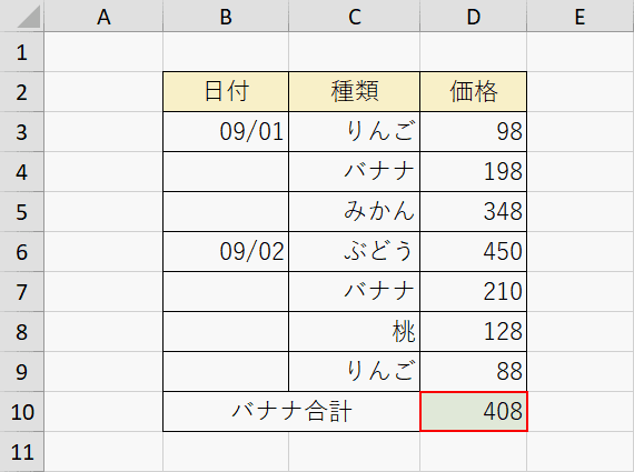 SUMIF関数の計算結果