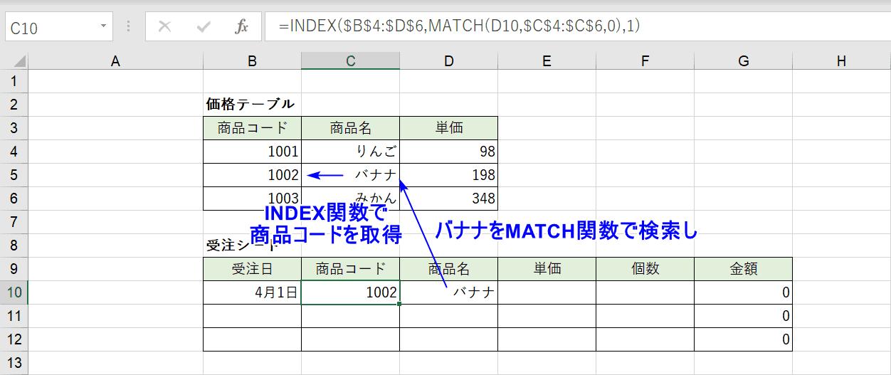 INDEX&MATCH関数の説明