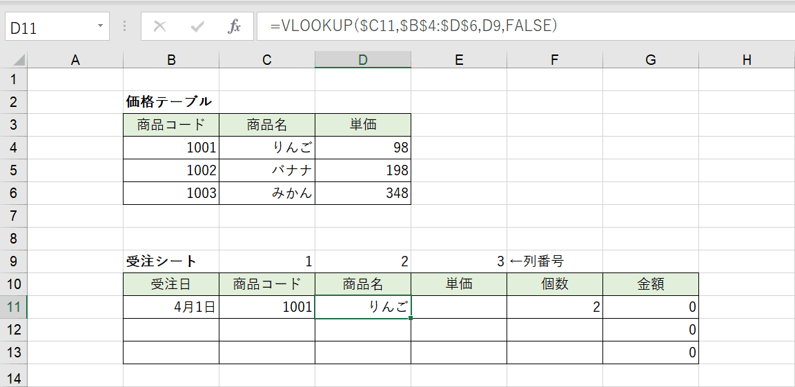 列番号のセル参照の結果