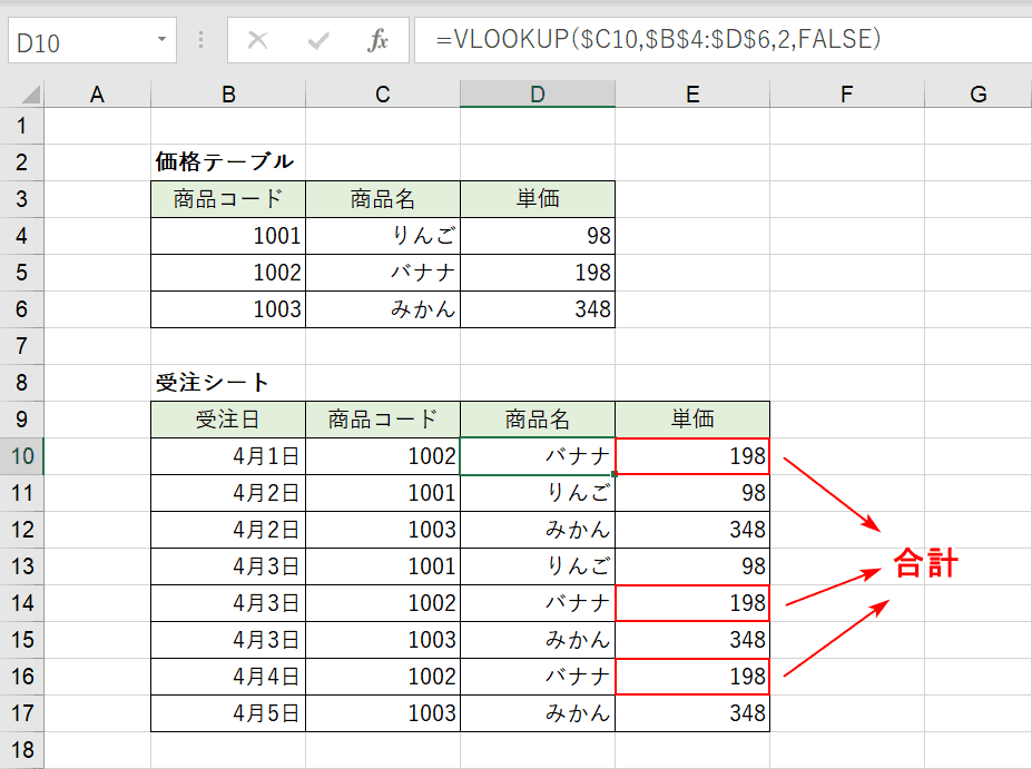 VLOOKUP関数の合計