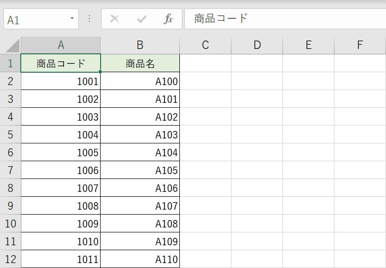検索元の表データ