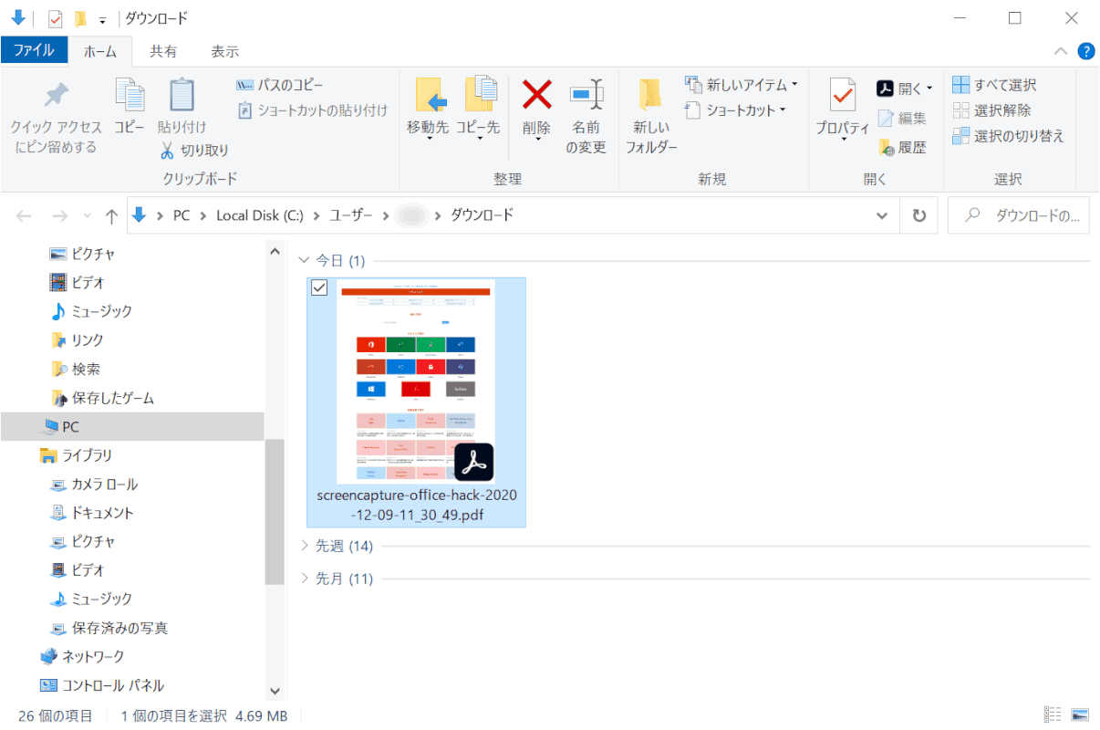 web-page 拡張機能 PDF化完了