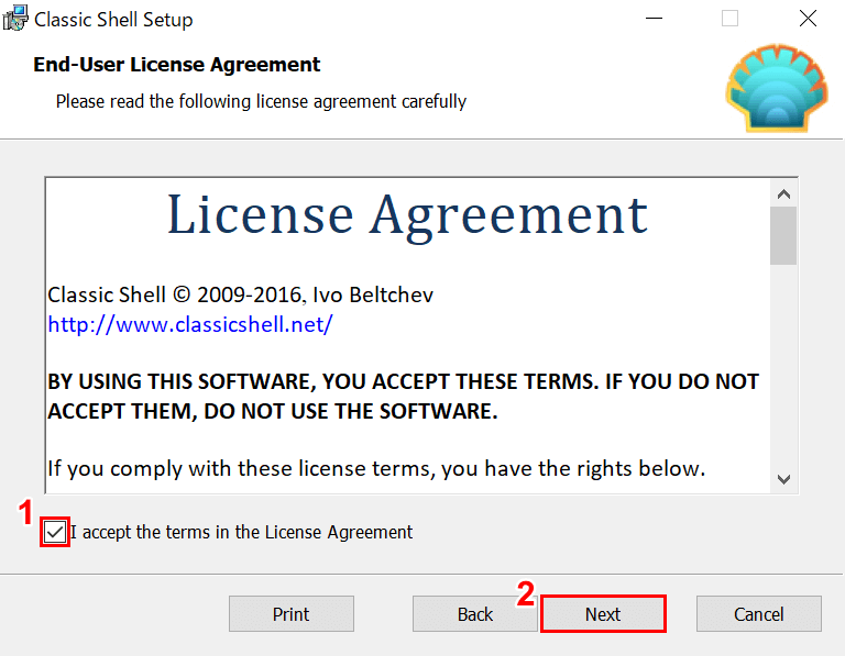 Classic Shellライセンスの同意
