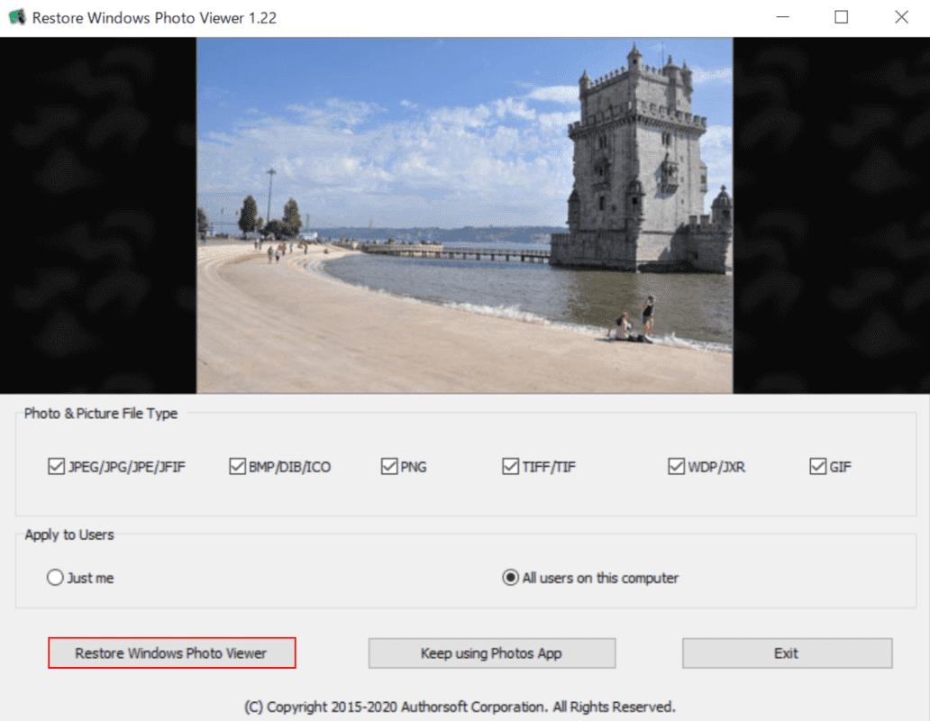 Restore Windows Photo Viewerの起動画面