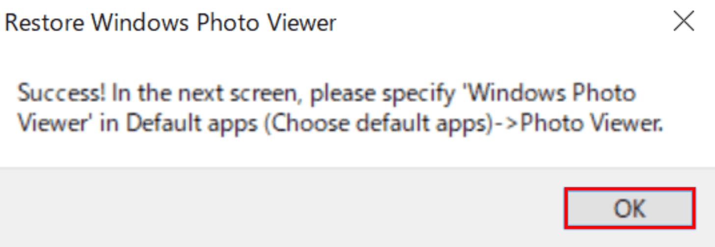 Restore Windows Photo Viewerダイアログボックス