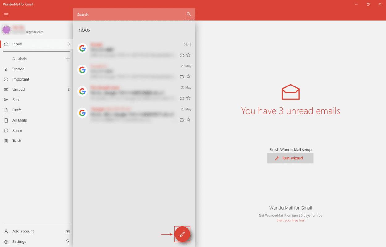 新規メール作成ボタンを押す