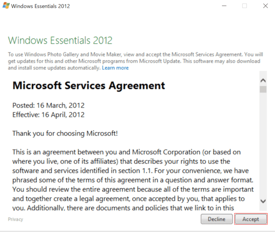 Windows Essentials 2012ダイアログボックスが表示されます