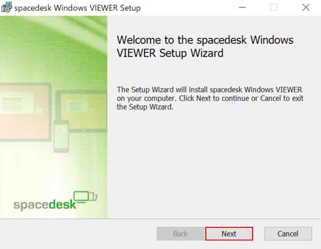 spacedeskWindowsVIEWERのセットアップ開始