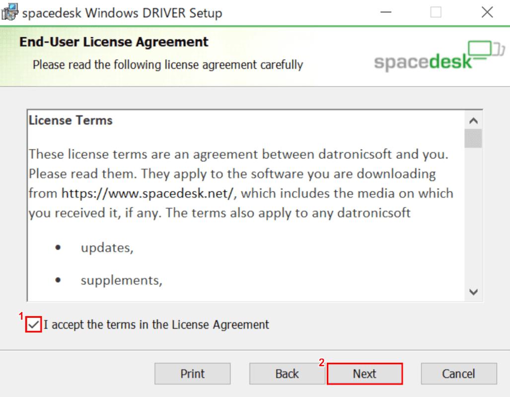 spacedeskセットアップ、ライセンスの同意