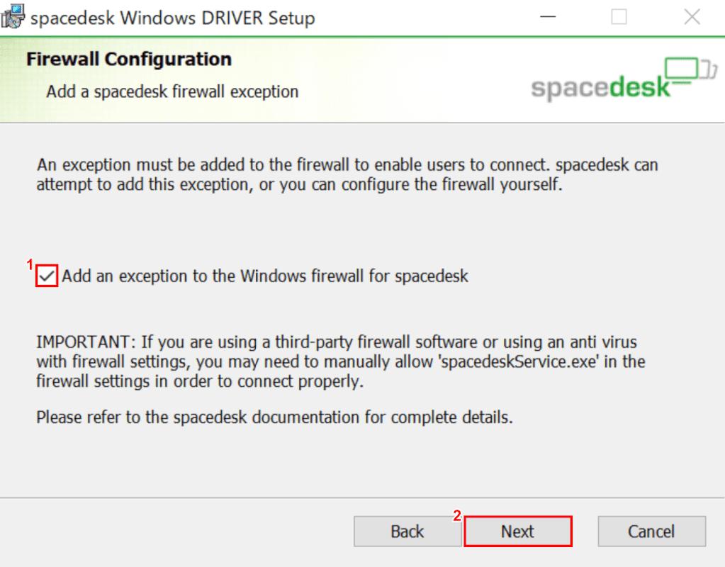 spacedesk、ファイアウォールの許可