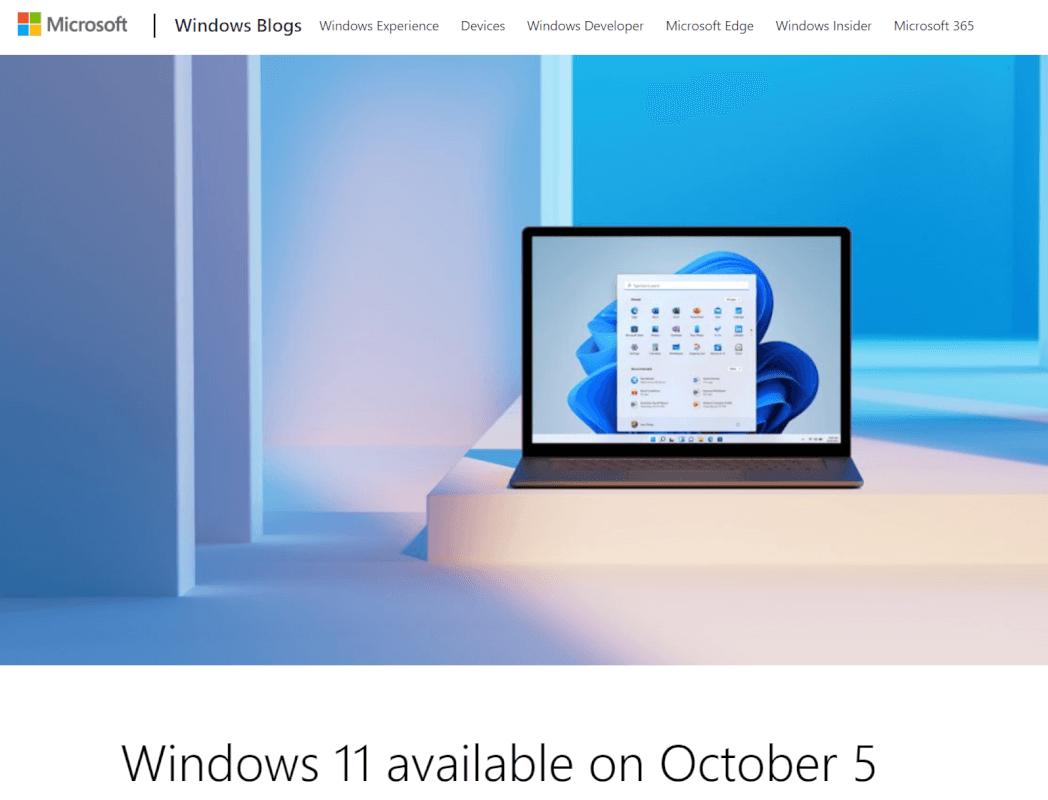 Windows 11の発売日は2021年10月5日