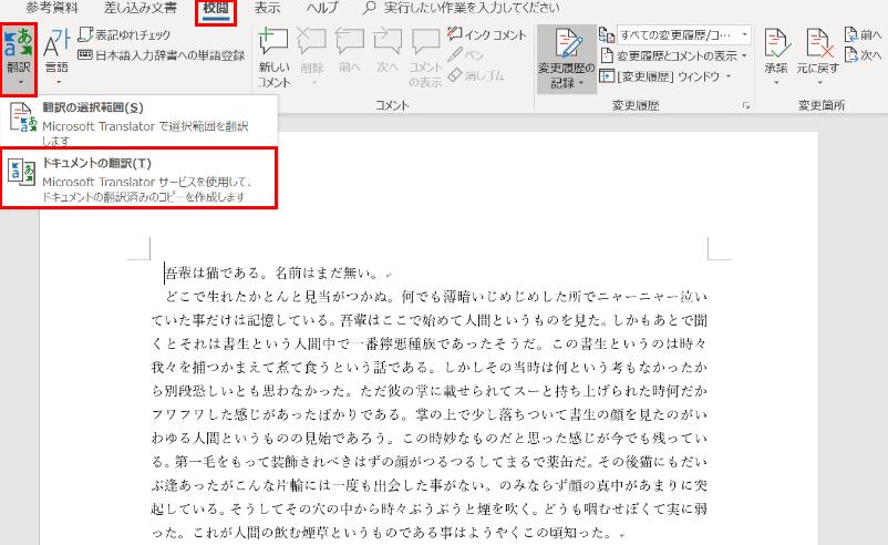 文書の翻訳言語の設定