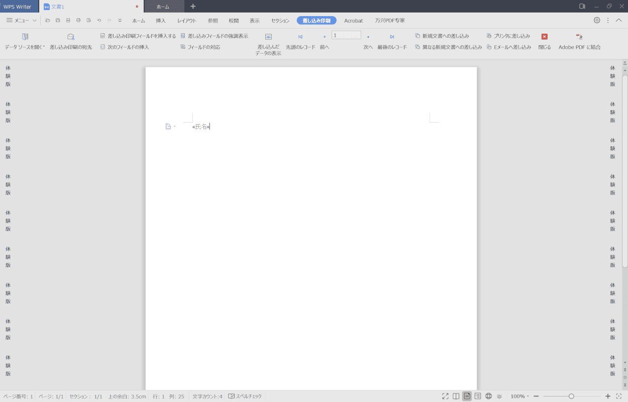 WPS Writer 差し込み印刷11